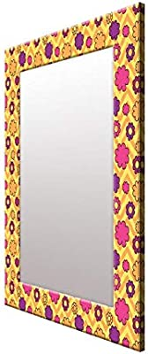 999Store Printed Yellow Flower Pattern Mirror