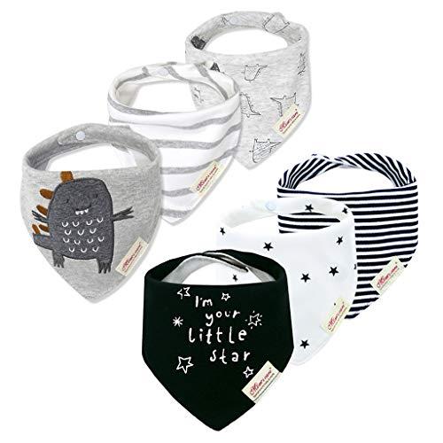 6 Pack Baby Dreieckstuch Babylätzchen Baumwolle Bandanas Einstellbar Spucktuch Super Saugfähig Halstücher 0-36 Monate, Mehrfarbig (F), 0-3 Jahre