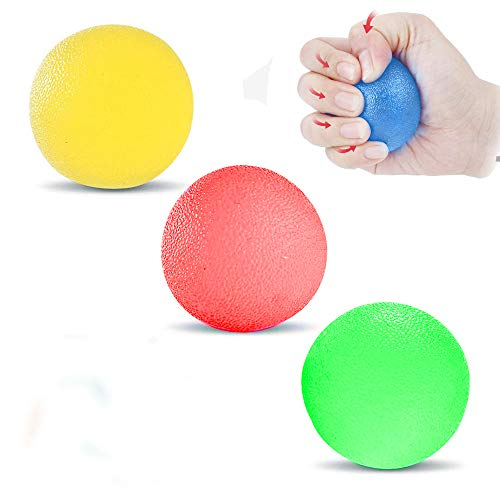 Hand-Therapie-Bälle, Handtherapie-Bal, Silikon Handtrainer, 3er-Set, Finger-, Handgelenk-, Arthrose-Training, Hand Therapie Übungs, Lindert Stress, 3 Farben