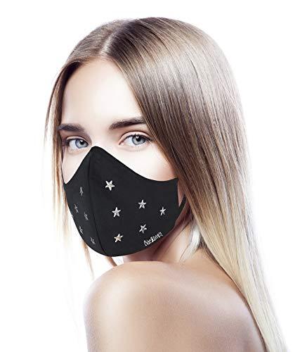 CHIC&LOVE | Banda Facial Negra para Mujer con Diseño Original con Cristales | AntiPolvo y AntiPolen Negra Estampado y Lavable hasta 25 Lavados | Para ir a la Moda y Fashion (Estrellas)