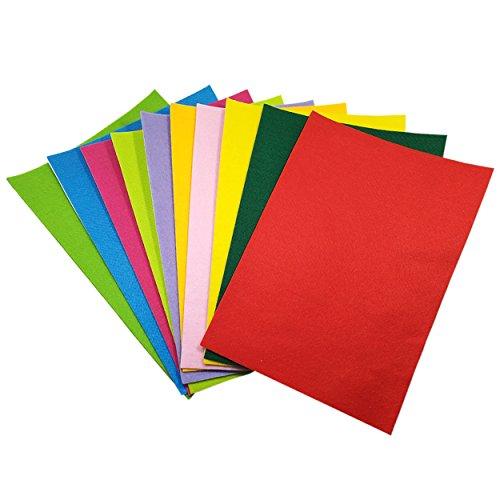 SuperHandwerk 10Pcs Filzstoff Farbig Bastelfilz Weich Vliesstoff Selbstklebend Textilkleber DIY Handwerk Projekte Patchwork zum Nähen 20cm x 30cm mit Kleber