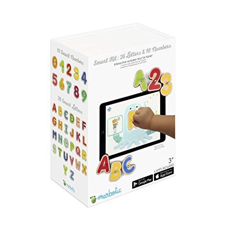 MARBOTIC - SMART KIT - Lernspiel zum Lesen und Zahlen lernen - Interaktive Holzspielzeug Für Tabletcomputer iPad oder Samsung - 7 kostenlose Lern-Apps für Kinder von 3-6 Jahren inklusive