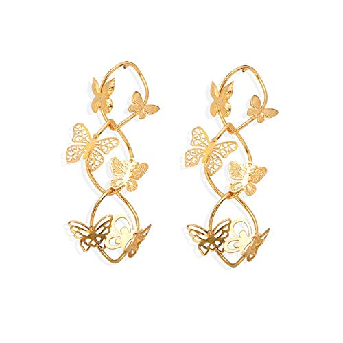 OUHUI Pendientes Cruzados de Metal Hueco Pendientes de Mariposa Pendientes de Animales Pendientes de Os Tridimensionales Moda / #4 Golden
