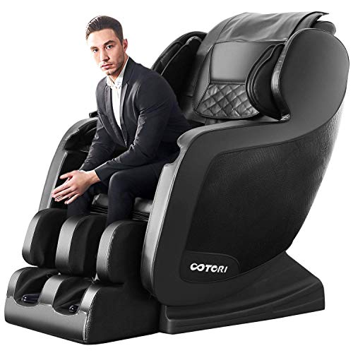 OOTORI Zero Gravity Massage Chair,Full Body Air Shaitsu Recliner with 3D Roller Heating Foot Roller Bluetooth Seat Vibration Body Scan for Wife Husband(Black)