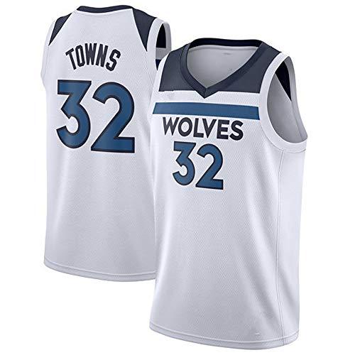 DULI Herren Basketballbekleidung Basketball Swingman Trikot, Wolves Fan Trikot 32# Towns, bestickte Basketball Trainingskleidung Jackenweste-#32White-S