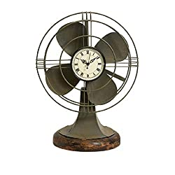 CC Home Furnishings 17.5 Decorative Retro-Style Table Fan with Clock Face and Wood Base