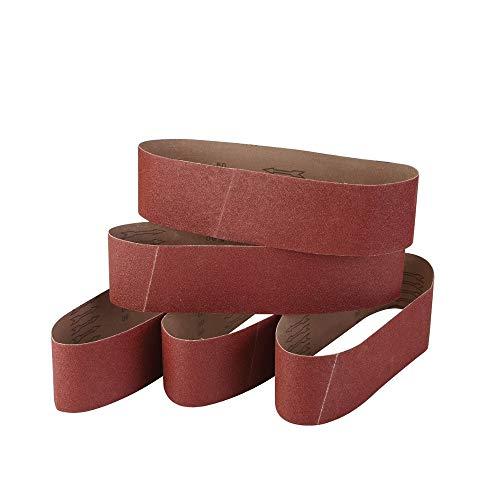 100 mm x 915 mm Schleifbänder 60/80/120/240/320 Korn Bandschleifer Werkzeug für Holzbearbeitung, Metall Polieren, 5 Stück Aluminiumoxid Schleifband