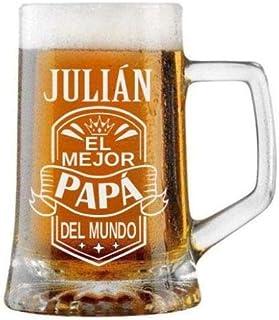 Jarra de Cerveza Personalizada Día del Padre BANDA CON CORONA Regalo Grabado y Personalizado para Hombre o Mujer Obsequio ...
