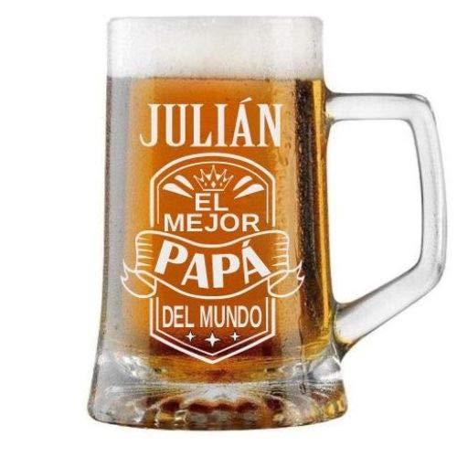 Jarra de Cerveza Personalizada Día del Padre BANDA CON CORONA Regalo Grabado y Personalizado para Hombre o Mujer Obsequio Celebraciones Cumpleaños Aniversarios Día del Padre Detalle personalizado