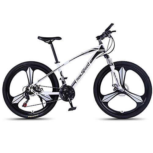 PBTRM Bicicleta Montaña MTB Outdoor 26 Pulgadas 21 Velocidades, Marco Aluminio, Doble Suspensión, Sillín Ajustable, Altura para Personas Entre 160 Y 185 Cm,Blanco
