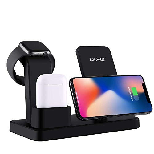 Gorilla Gadgets 3 in 1 Wireless Charging Stand Compatible with iPhone 11/11 Pro/11 Pro Max/X/XS/XR/Xs Max, Apple Watch Series 5/4/3/2/1, Airpods 1/2, Qi Fast Wireless Charging Station 10W (Black)
