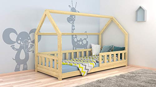 Children Bed House Kids Bed with Protection barriers New Natural Wood ! Solid !