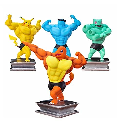 4 unids / Set Figura de Anime Pokemon 17Cm Gk músculo Pikachu Figuras de acción Modelo Culturismo Juguete músculo Dibujos Animados Divertidos Juguetes niños Regalos de cumpleaños