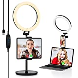 """10.2"""" Ring Light with Stand & Tablet/Phone Holder - Yoozon Desk Ringlight for iPad Computer Laptop, Selfie Ring Light for Video Conference/Zoom/Video Call/Live Streaming/YouTube/Makeup/Webcam Chat"""