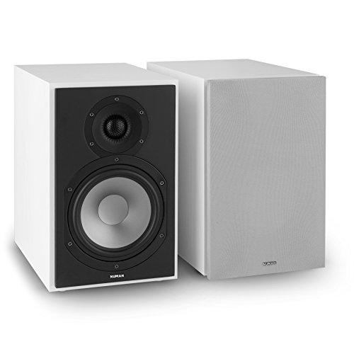 NUMAN Reference 802 - Regal-Lautsprecher, Lautsprecher-Boxen, HiFi-Boxen, Lautsprecher-Paar, high-end Boxen, 2-Wege-System, Spitzenleistung 120 Watt, 4 Ohm, silbernes Cover, weiß