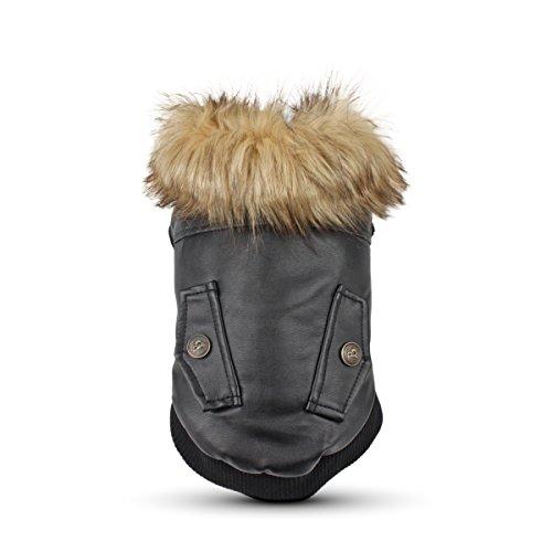 LESYPET Leather Dog Coat Waterproof Dog Winter Coat Puppy Jacket for Small to Medium Dogs, Black X-Large