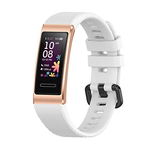 Seltureone Solid Color Silicona Banda Compatible para Huawei Band 4 Pro, Banda de Repuesto de Suave Silicona para Huawei Band 4 Pro para Mujeres Hombres