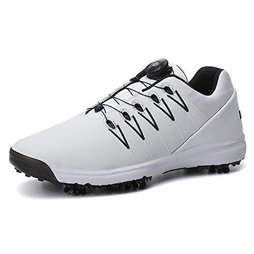 Aupast Herren Golfschuhe Waterproof Lightweights Leder Golfschuh Outdoor Anti-Rutsch-Golfschuhe mit BOA Lace System