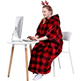 Waitu Wearable Blanket Sweatshirt for Working and Cooking, Super Warm and Cozy Big Blanket Hoodie for Women and Men, Thick Flannel Blanket with Giant Pocket and No Sleeves - Red Black Plaid