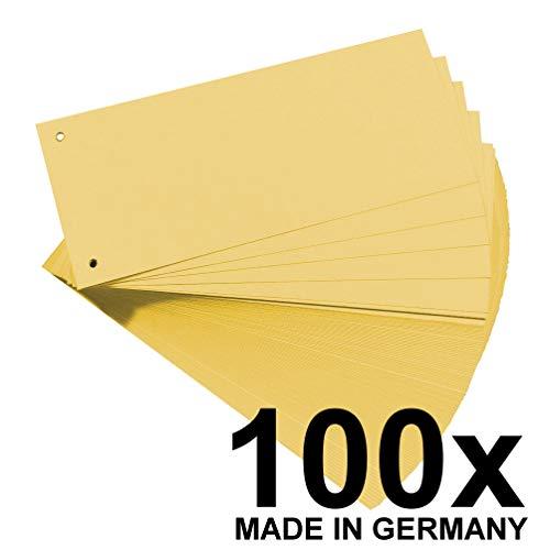 Original Falken 100er Pack Karton-Trennstreifen. Made in Germany. 10,5 x 24 cm gelb Trennlaschen Trennblätter Ordner Register Blauer Engel