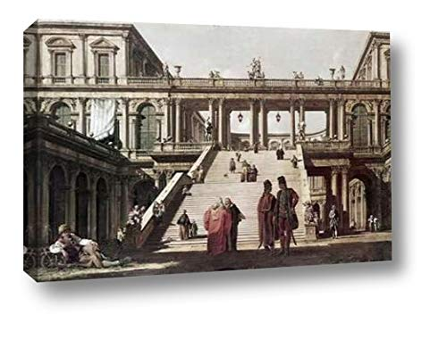 """Castle Yard by Canaletto - 11"""" x 16"""" Canvas Art Print Gallery Wrapped - Ready to Hang"""