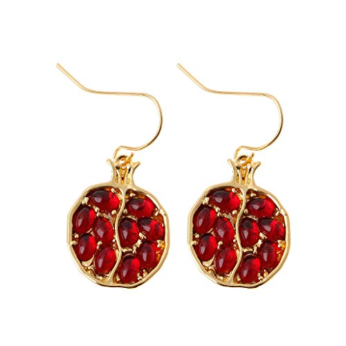 HOTPINK1 Pendientes de gota de cristal, dorados con fruta, granada roja, para mujer
