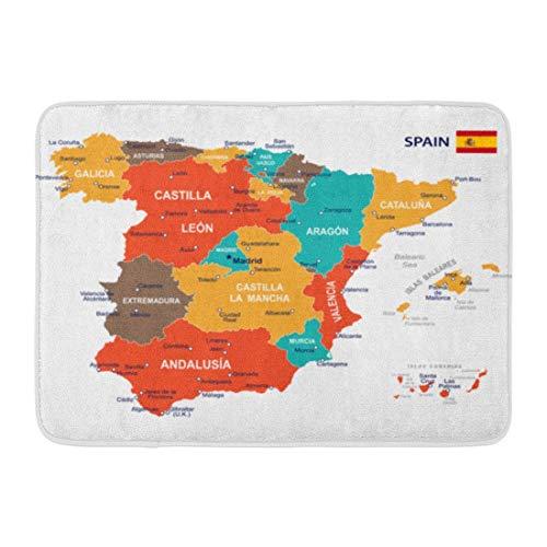 Fußmatten Badteppiche Outdoor/Indoor Fußmatte Blau Barcelona von Spanien Karte Braun Regierung Spanisch Stadt Flagge Madrid Badezimmer Dekor Teppich Badematte
