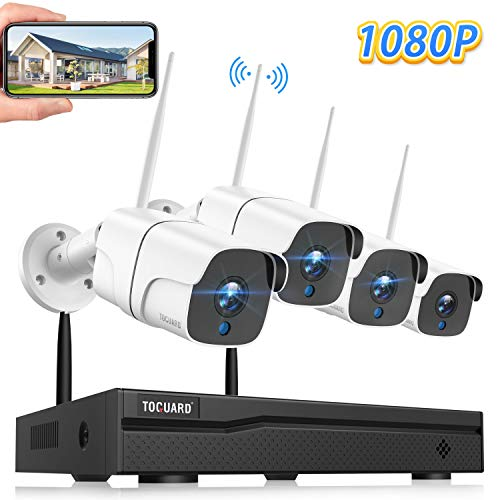 TOGUARD Wireless Security Camera System 8CH 1080P NVR 4Pcs 1080P Outdoor/Indoor WiFi Surveillance Cameras with Motion Detection,Email Alert,Night Vision,Remote Monitor,Waterproof,No Hard Drive
