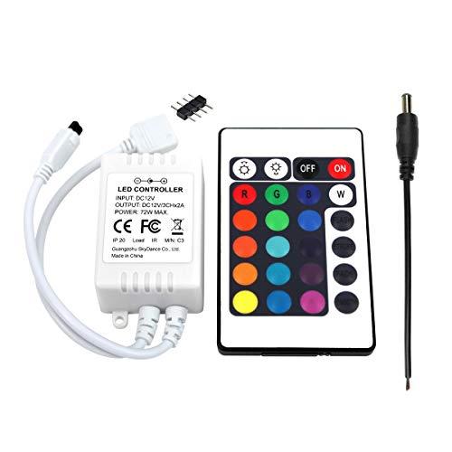 UltraBright 24 Key Tasten IR Remote Control Fernbedienung, 12V 6A Controller Kontroller Empfänger für SMD RGB LED Fee Beleuchtung Strip Licht Streifen