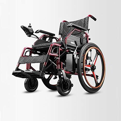 Evin Leichter zusammenklappbarer elektrischer Doppelfunktionsrollstuhl (35 km Lithium-Ionen-Akku) - Elektrischer oder manueller Rollstuhl (mit Einhandbedienung),Red,24chunRearWheel