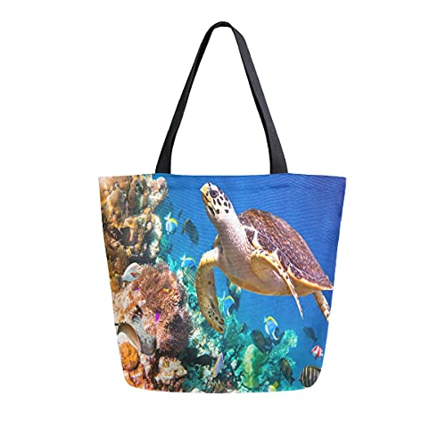 AHYLCL Ocean Sea Animal Turtle Fish Tote Bag Canvas Shoulder Bag Reusable Large Multipurpose Use Handbag for Work School Shopping Outdoor