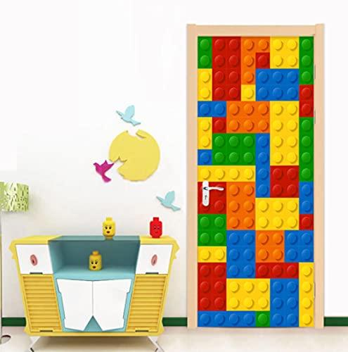 Autoadhesivo impermeable 3D estéreo Lego ladrillos pegatina para puerta niños dormitorio sala de estar decoración del hogar calcomanía papel tapiz ecológico