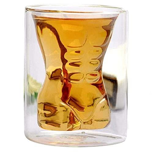 Decantador de whisky Doble Pared Copa de vidrio Copa de vino Hombre musculoso Hombre Sexy Belleza Humano Cuerpo Cerveza Vidrio Vidrio Vodka Copa de vino, Copa de belleza vasos whisky cristal RVTYR