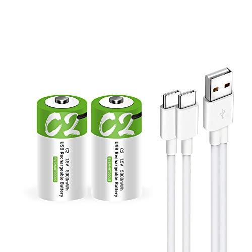 Wiederaufladbarer USB-C-Lithium-Ionen-Akku, hohe Kapazität, 1,5 V, 5000 mWh, wiederaufladbarer C-Akku, 2,5 Stunden Schnellladung, 1200 Zyklen mit Typ-C-Port-Kabel, konstanter Ausgang, 2er-Pack