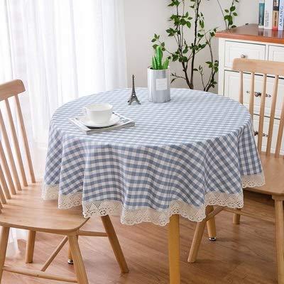 Mantel Redonda Gruesa de algodón a Cuadros Ropa de Cocina Tabla de Cena del paño de Pastoral del cordón del Estilo Simple Mesa nórdica decoración Paño XZZ