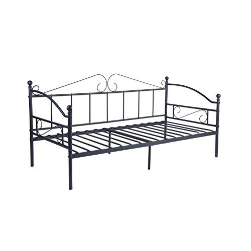 DORAFAIR Cama Metálica Diván Cama de día para Dormitorio Salón Cuarto de Invitados, Adecuado para Colchón de 90 * 190 cm, Negro