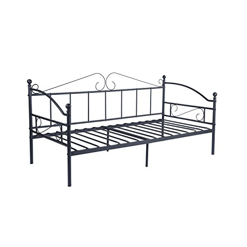 DORAFAIR Metal Day Bed Frame Guest Sofa Bed for Living Room Bed Room, Daybeds with Solid Metal Slat Mattress Platform Base, Black