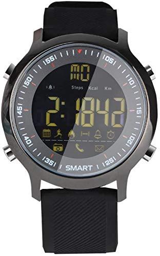 Reloj inteligente deportivo con información del teléfono, reloj despertador Bluetooth, resistente al agua, esfera luminosa larga, compatible con Android e iOS, color verde y negro
