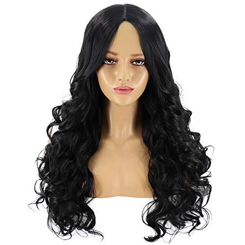 GOLDEN MANGO Européens et Américains Perruques, Mesdames Rose Net Noir Chemical Fiber Longs Cheveux Bouclés, Perruques