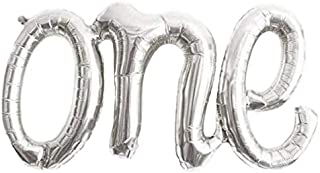 """Alchik Hanging Foils Script Balloon """"ONE"""" Word - 20"""" Classic Silver Air Balloons - Set of 1 Balloon - Perfect for Baby Shower, Happy Birthday or Any Party Decorations"""