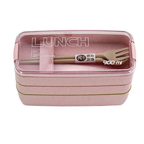 Ousia Bento Lunch Box Biodégradable Fibre de Blé, 3 Compartiments Séparateurs, Couverts Fourchette, Cuillère Idéal pour Famille, Enfants (Rose)