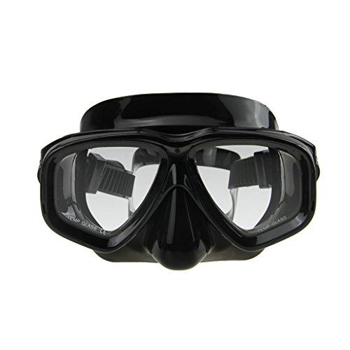YJZQ Tauchmaske Tauchmaske ohne Tube Schwimmbrille Glas getränkt WC-Sitz Pool Anti-Fog Maske Trekking Kits de Sport Wasser für die erwachsene, Schwarz