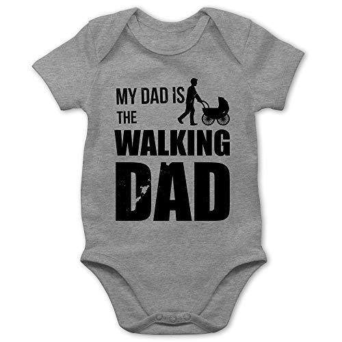 Shirtracer Sprüche Baby - My Dad is The Walking Dad - 1/3 Monate - Grau meliert - Baby Kleidung - BZ10 - Baby Body Kurzarm für Jungen und Mädchen