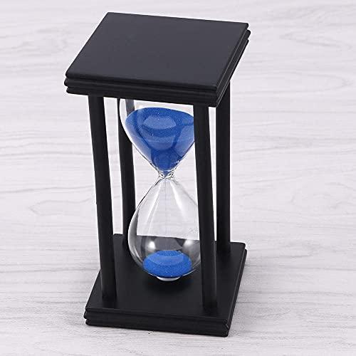 FHSMRING 30 Minutos de Reloj de Arena de Reloj de Arena Vintage Azul Reloj de Arena Temporizador de té decoración del hogar Regalo (Marco Blanco Arena Azul) temporizadores (Color : Black)