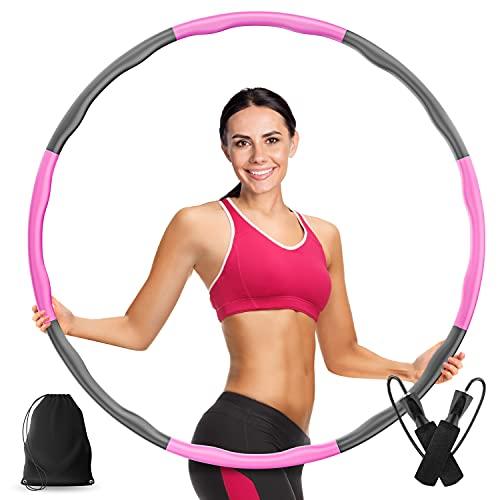 Veluris Hula-Hoop-Reifen für Erwachsene [0,75-1kg]–Steckbarer Hula Hoop Reifen zum Auseinandernehmen [6-8 Teile]–Fitness Hula-Hoop inkl. Springseil