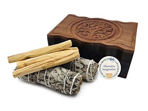 Carved Tree of Life Wooden Box with 2 California White Sage and 4 Palo Santo Incense