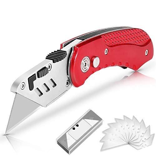AGPTEK Cuchillo utilitario, Cuchillos multiusos, Cuchillo plegable portátil, con 10 Cuchillas de acero inoxidable SK5 de Repuesto, Cuchillo de Bolsillo de tamaño reducido con diseño de bloqueo