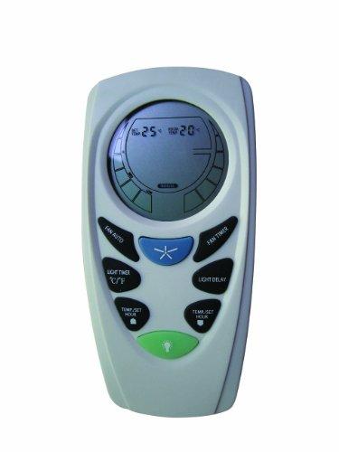 LUCCI AIR LCD Fernbedienung für Deckenventilatoren (Fanaway), 3 Stufen (AC Motor) mit vielen extra Funktionen: Temperaturanzeige, Timer nach Zeit und Temperatur, Licht AN/AUS, Hellgrau