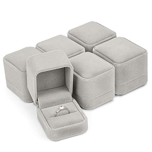 Ring Box (6 Pack) - Velvet Engagement & Wedding Ring Bearer Display Case (L6,2 cm x B 5,2 cm x H5cm) - Grijze sieradenset - Perfect voor Valentijnsdag of Moederdag Presentatie Box