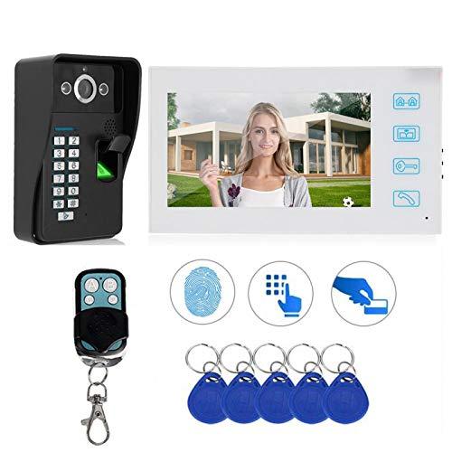 Vídeo portero, sistema de control de puerta Video intercomunicador 1080P huella dactilar tarjeta de contraseña para casas (Transl)